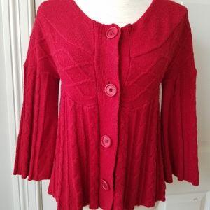 Day Trip Red 3/4 Sleeve Cardigan Junior L